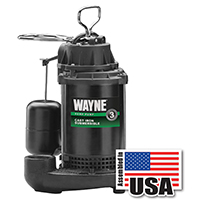 Wayne Pumps CDU800 Fully Submersible Sump Pump, 4200 gph, 1/2 hp, 115 V, Cast Iron, Steel 1-1/2 in NPT Outlet, 10 A