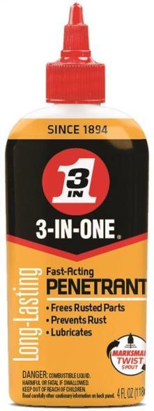 3-IN-ONE 120015 Fast Acting Penetrant, 4 oz, Bottle, Light Brown, Liquid