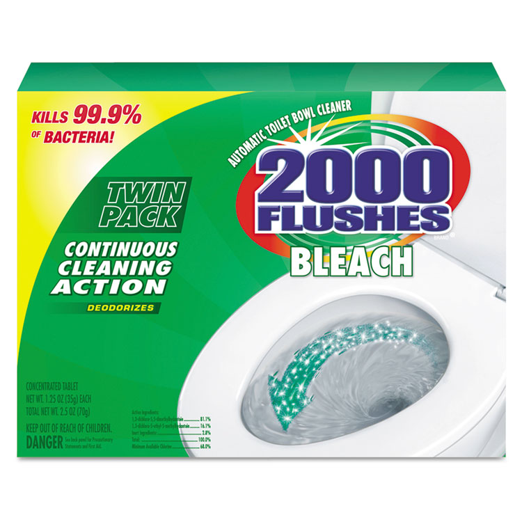 2000 Flushes Blue Plus Bleach, 1.25oz, Box, 2/Pack, 6 Packs/Carton