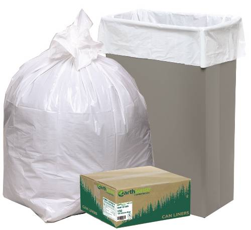 EARTHSENSE CAN LINER TRASH BAGS TALL KITCHEN LOW-DENSITY 24X31 13 GALLON .85MIL WHITE