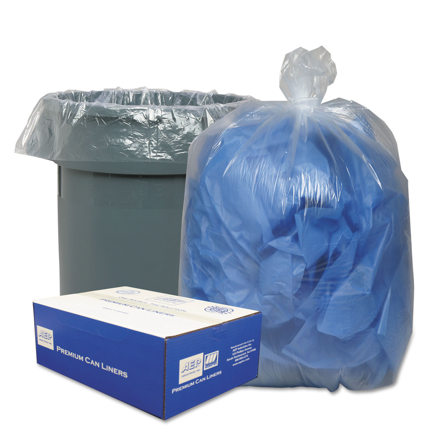Clear Low-Density Can Liners, 56gal, .9 Mil, 43 x 47, Clear, 100/Carton