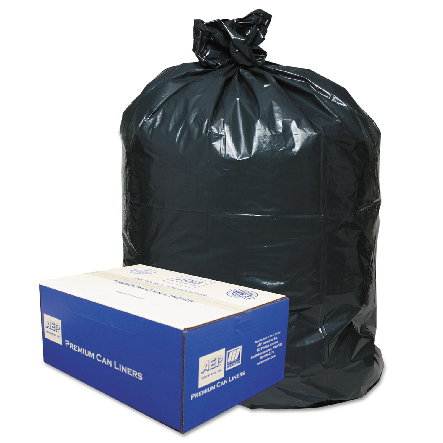 2-Ply Low-Density Can Liners, 56gal, .9 Mil, 43 x 47, Black, 100/Carton
