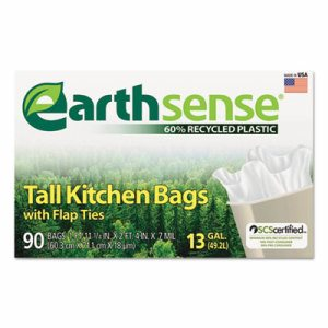 Recycled Can Liners, 13gal, .7 Mil, 23 3/4 x 28, White, 90 Bags/Box