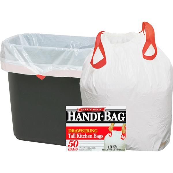 Drawstring Kitchen Bags, 13gal, 0.6mil, 24 x 27 3/8, White, 50/Box