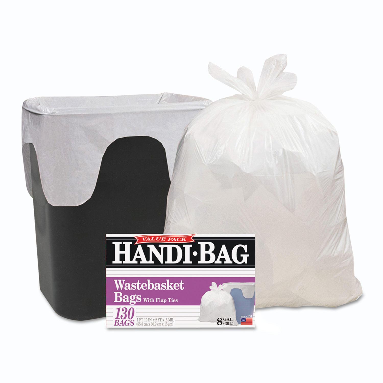 Handi-Bag Super Value Pack, 8gal, 0.6mil, 22 x 24, White, 130/Box