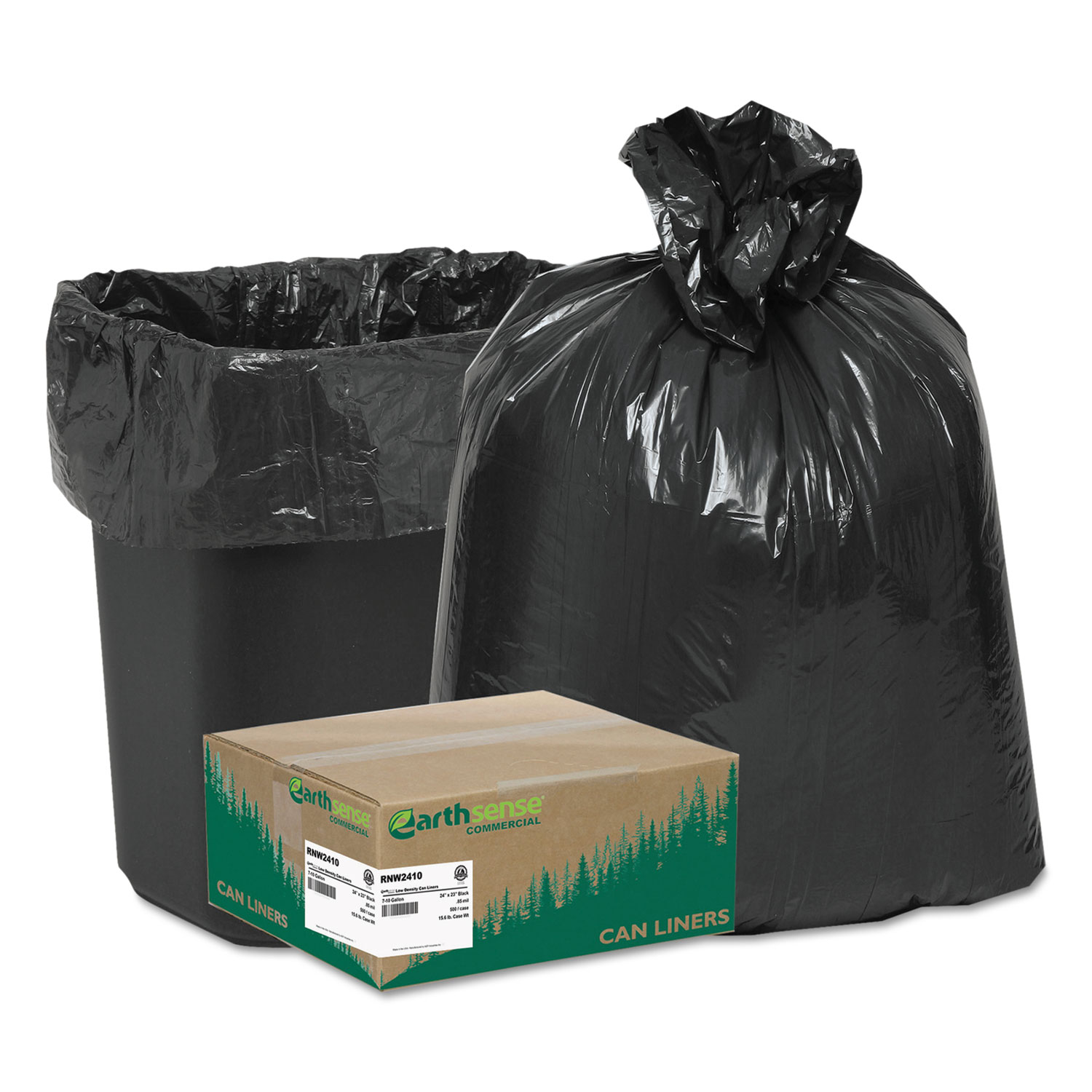 Recycled Can Liners, 7-10gal, .85mil, 24 x 23, Black, 500/Carton