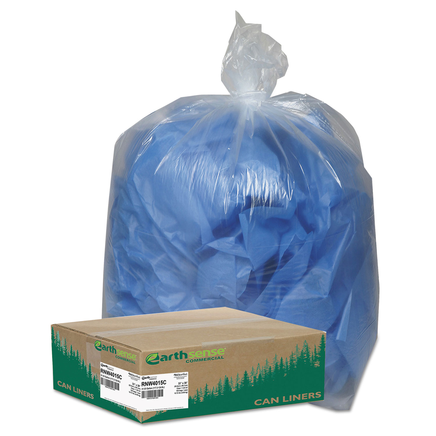 Clear Recycled Can Liners, 31-33gal, 1.25mil, Clear, 100/Carton
