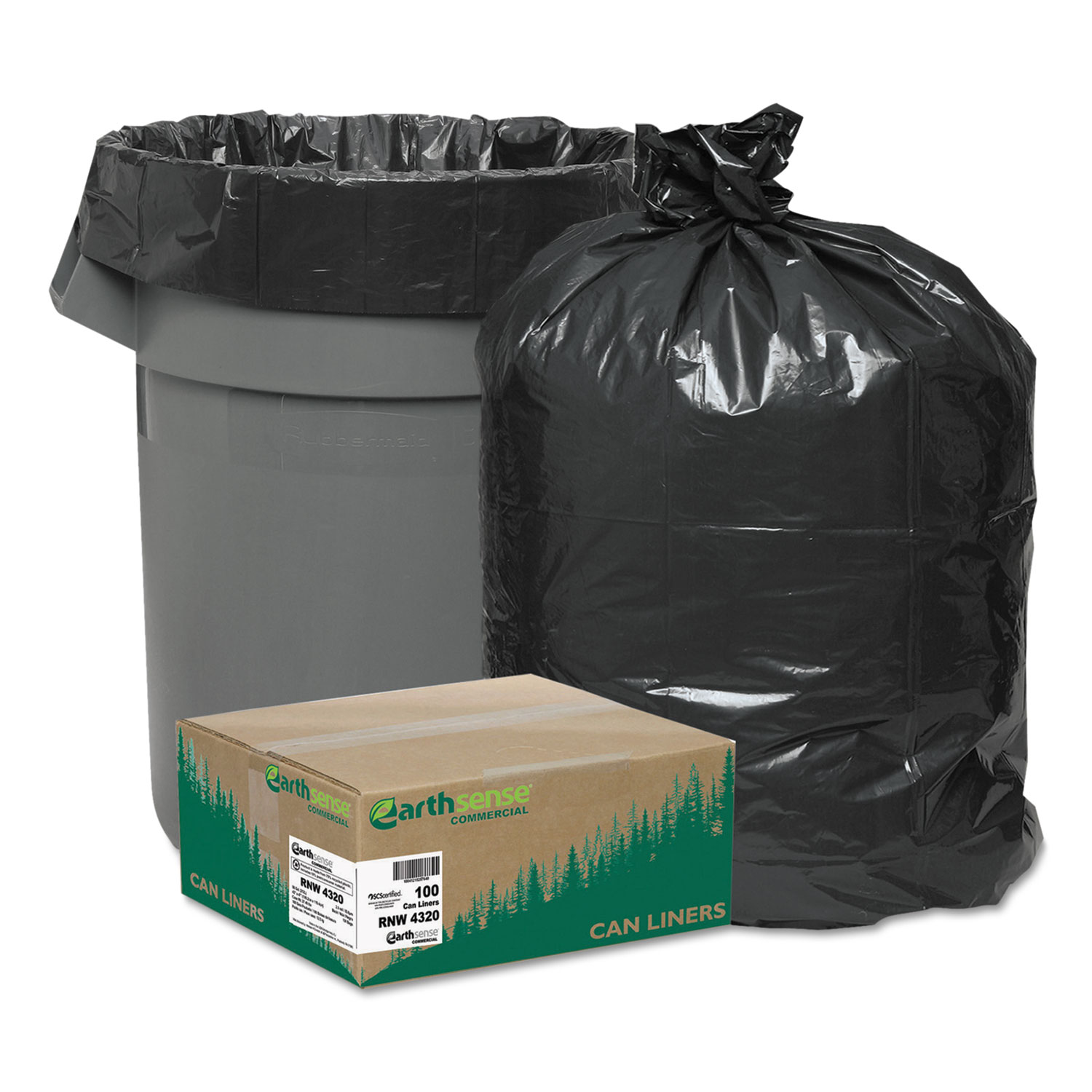 Recycled Can Liners, 56gal, 2mil, 43 x 47, Black, 100/Carton