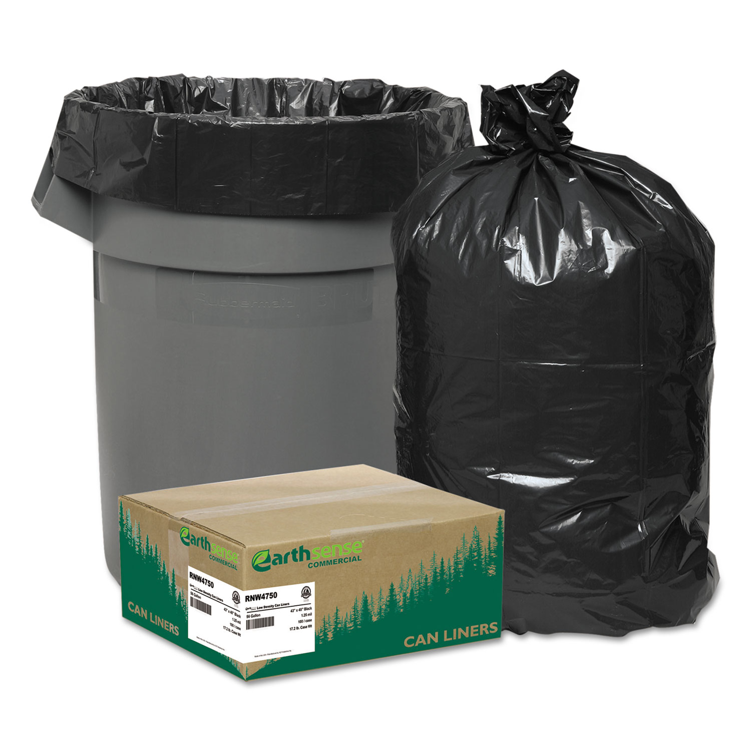 Recycled Can Liners, 40-45gal, 2mil, 40 x 46, Black, 100/Carton