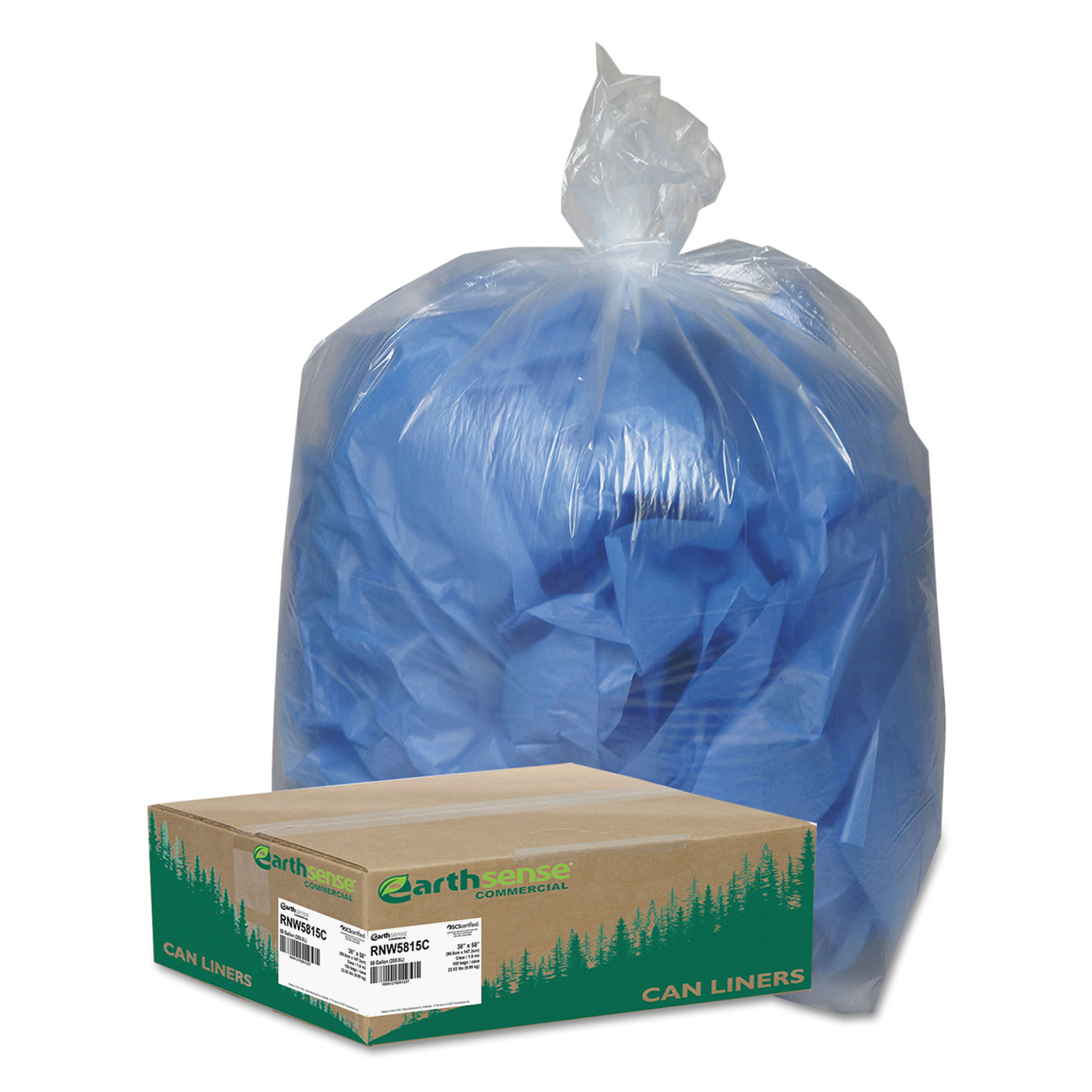 Clear Recycled Can Liners, 55-60gal, 1.5mil, Clear, 100/Carton
