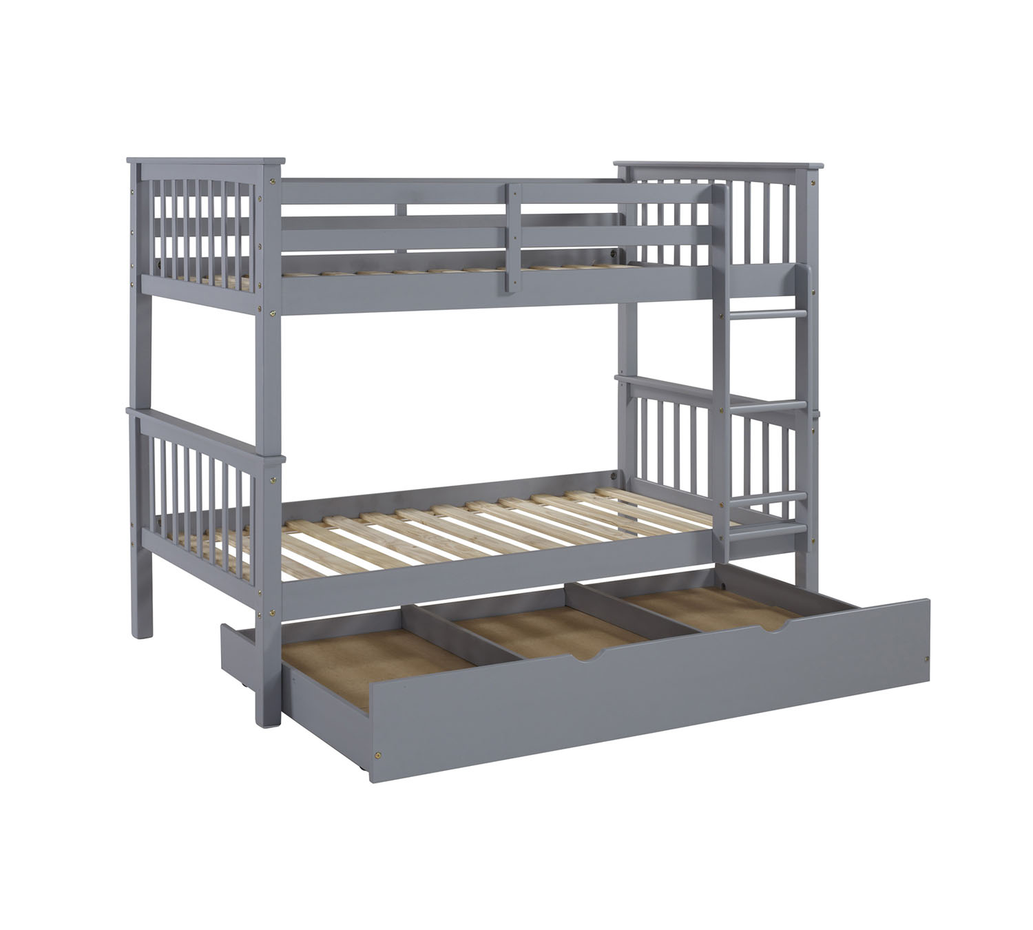 WE Furniture Kids Solid Wood Twin Bunk Bed with Trundle Bed - Grey