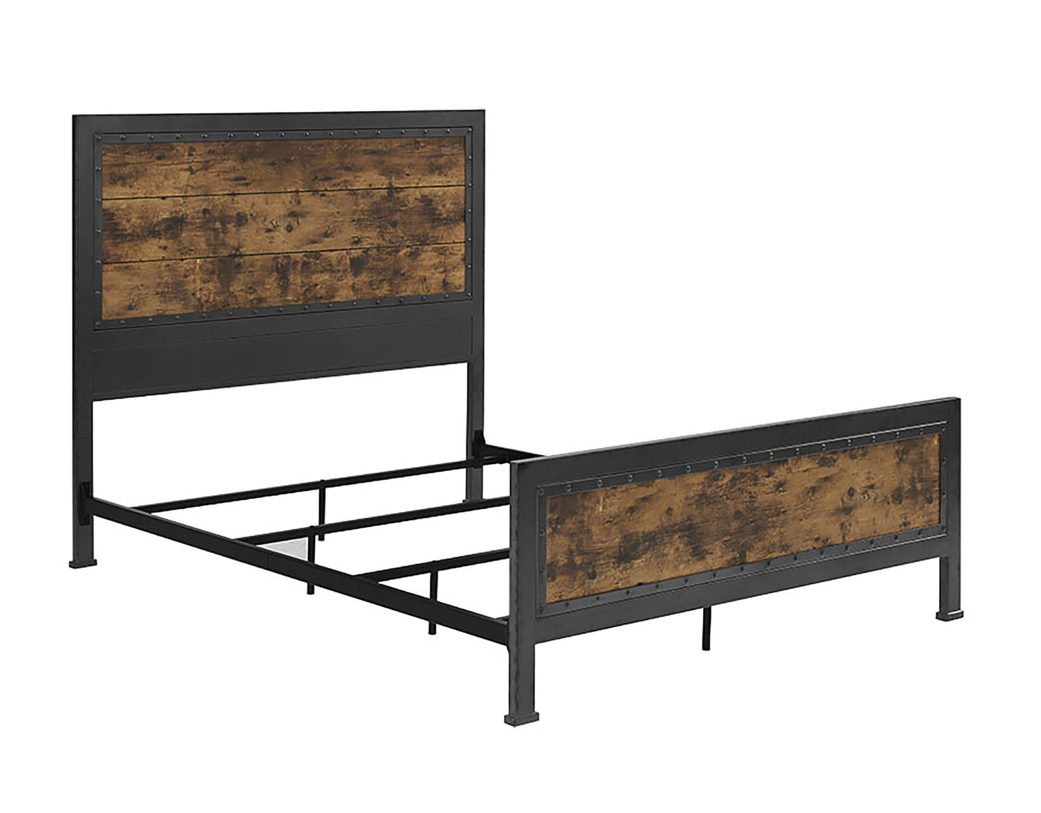 WE Furniture Queen Size Industrial Wood and Metal Bed - Brown