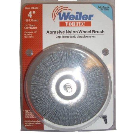 Weiler Vortec Pro 36433 Wire Wheel Brush, 4 in Dia, 0.04 in Wire, Abrasive Nylon, Coarse