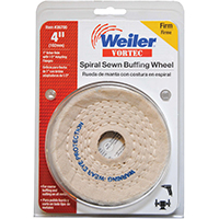 Weiler 36700 Spiral Sewn Buffing Wheel, 4 in Dia x 3/8 in T, 1/2 - 1 in Arbor