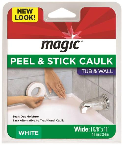 Magic American 3016 Bathtub Caulk Moulding, 1-5/8 in W X 11 ft L, Plastic, White