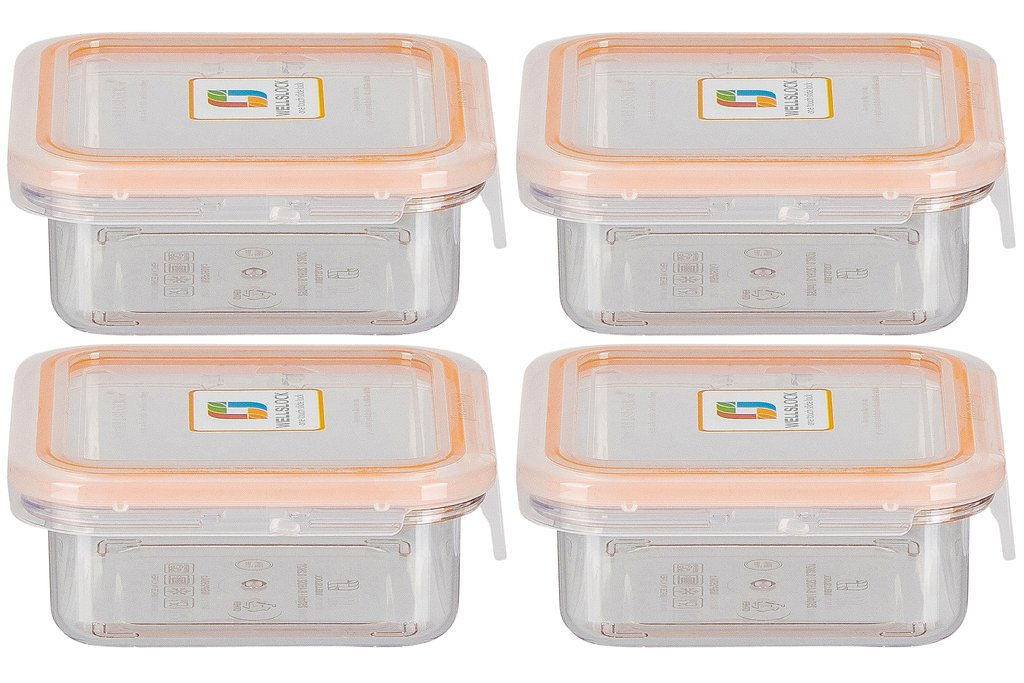 WELLSLOCK WS250A4 CLEAR 4 PACK FOOD CONTAINER FOR STORAGE