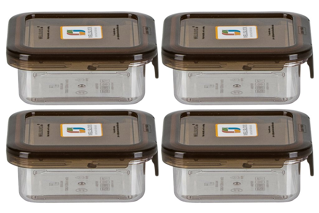 WELLSLOCK WS250G4 SMOKE 4 PACK ONE LOCK  FOOD CONTAINER