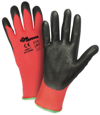 West Chester Medium Zone Defense� Cut And Abrasion Resistant Black Foam Nitrile Dipped Palm Coated Work Gloves With Elastic Knit