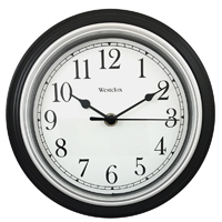 CLOCK WALL RND BLACK 8.5IN