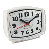 Dialite 22192 Quartz Alarm Clock, Analog Display, 110 V, White