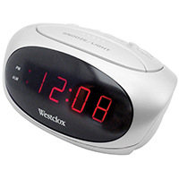Westclox 70044B Electric Alarm Clock, 0.6 in Digital, Red? LED Display, White