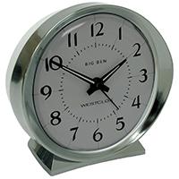 Big Ben Classic Quartz Battery Powered Alarm Clock, Analog Display, Silver
