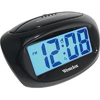 Westclox 70043X Compact Large Alarm Clock, 1 in Digital, LCD Display, Black