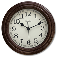 CLOCK WALL RND WOOD 9.5IN