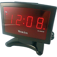 Westclox 70014 Plasma Alarm Clock, 0.9 in Digital, Red? LED Display