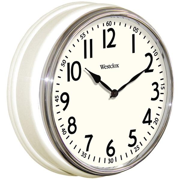 """Westclox 32041W 12"""" Round Vintage Kitchen Classic Clock, White"""