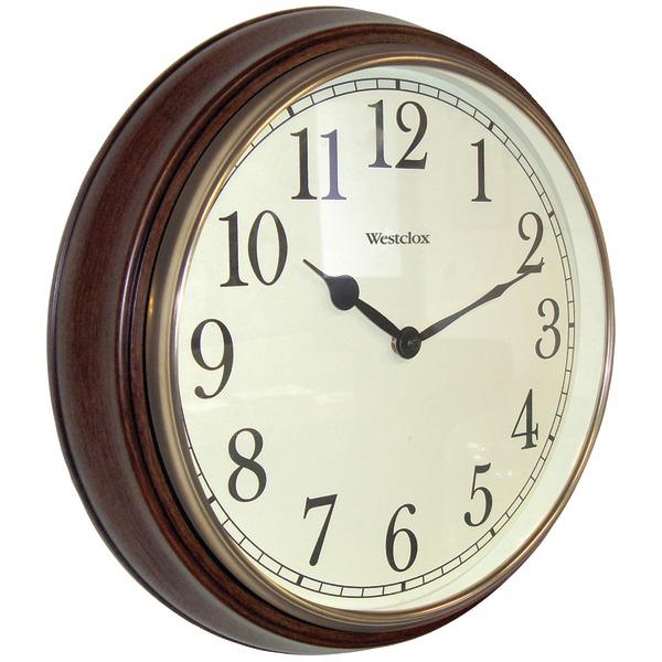 "Westclox 73004P 15.5"" Round Dark Woodgrain Clock"
