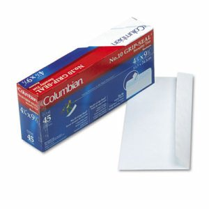 Grip Seal Security Tint Business Envelopes, #10, 4 1/8 x 9 1/2, White, 45/Box