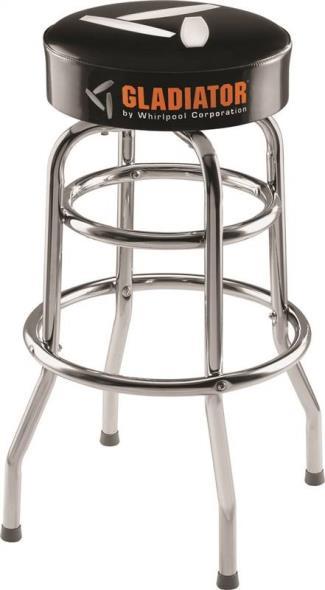 Gladiator GAAC30STPB Workbench Stool, 30 in H x 15 in W, Steel Leg, Black Seat, Chrome Leg