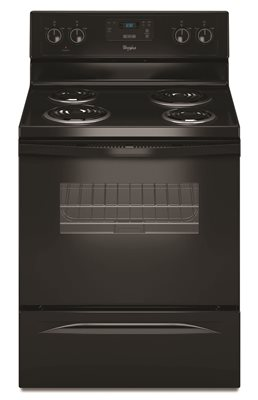 WHIRLPOOL� 30-INCH  4.8 CU. FT. SINGLE OVEN FREE-STANDING ELECTRIC RANGE, BLACK