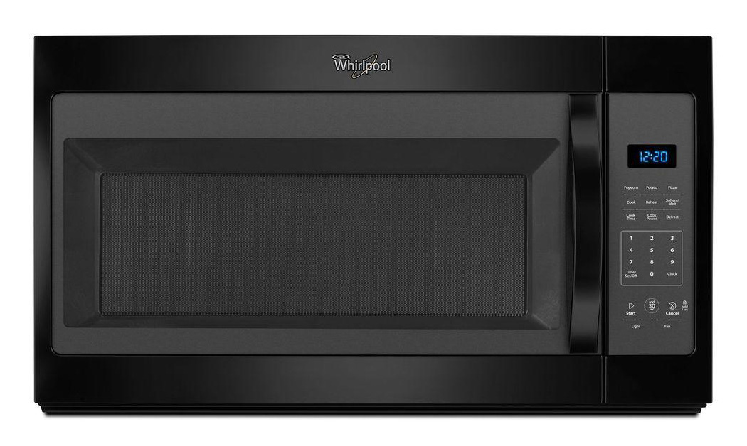 WHIRLPOOL� 1.7 CU. FT. OVER-THE-RANGE, COMBINATION MICROWAVE OVEN, BLACK, 1000 W