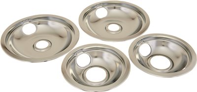 ELECTRIC RANGE DRIP PAN FITS WHIRLPOOL� AND KITCHENAID� RANGES, CHROME, SET OF 4