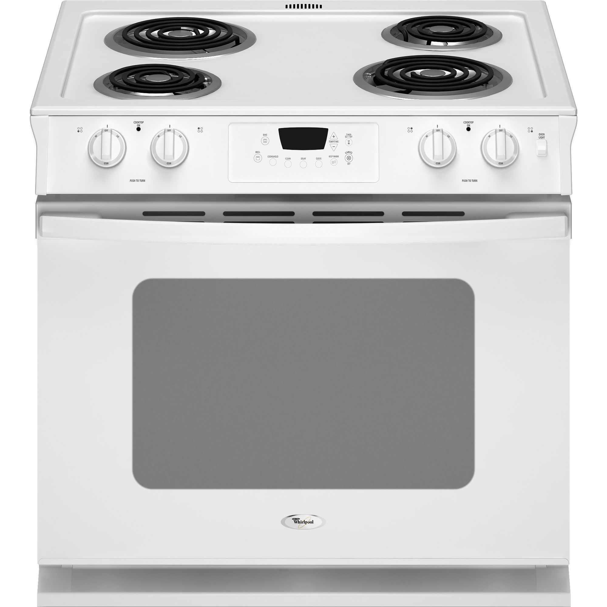 WHIRLPOOL� 30-INCH  4.5 CU. FT. DROP-IN ELECTRIC RANGE, WHITE
