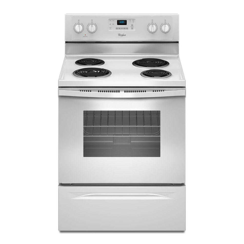 WHIRLPOOL� 30-INCH  4.8 CU. FT. SINGLE OVEN FREE-STANDING ELECTRIC RANGE, WHITE