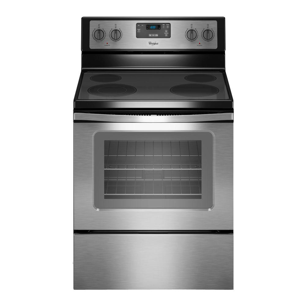 WHIRLPOOL� 30-INCH  4.8 CU. FT. SINGLE OVEN FREE-STANDING ELECTRIC RANGE, STAINLESS