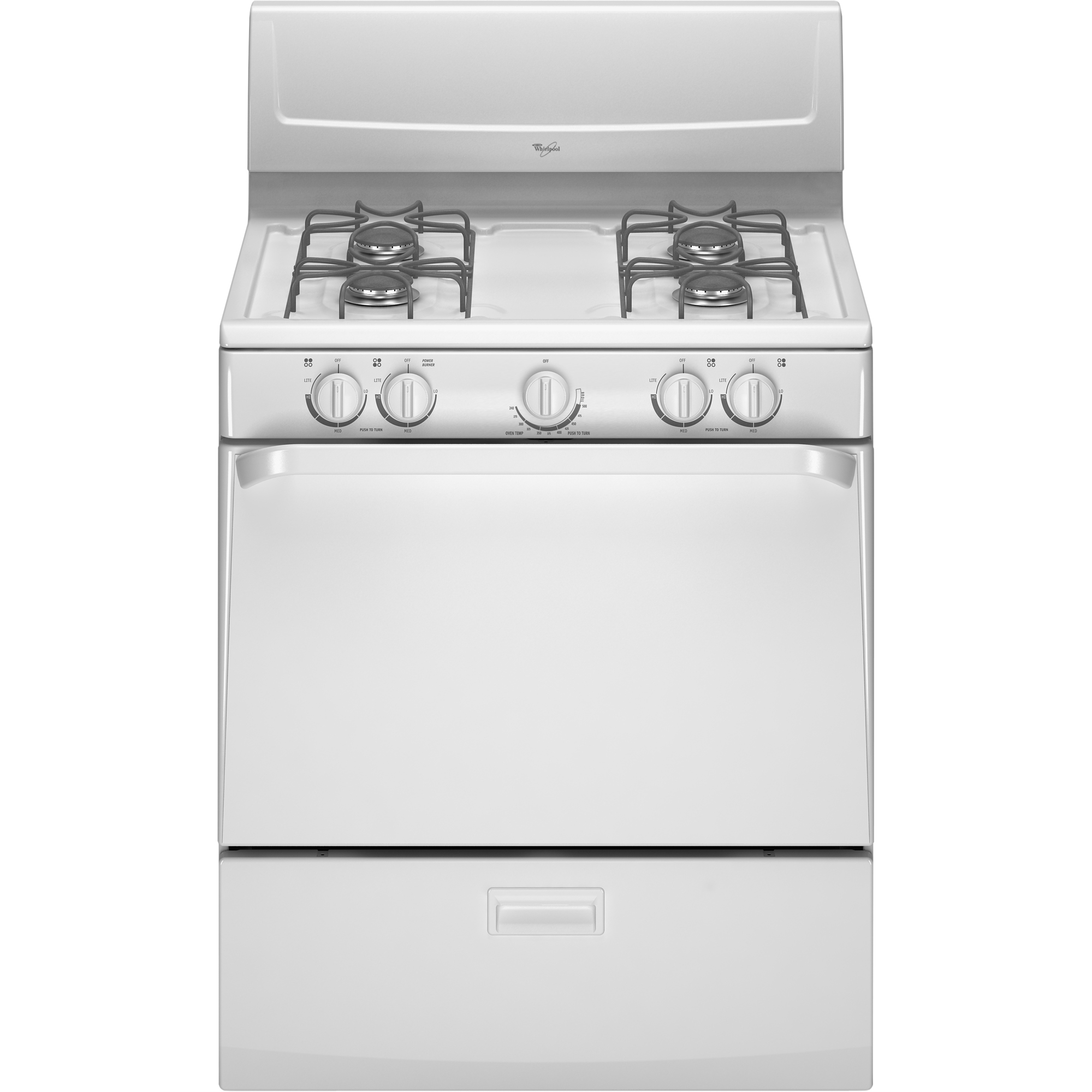 WHIRLPOOL� 4.4 CU. FT. FREE STANDING GAS RANGE WITH ELECTRIC IGNITION, WHITE