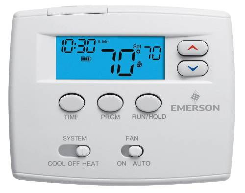 "Emerson 24H Programmable Thermostat with 2"" Blue Display"