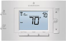 EMERSON� 80 SERIES� SINGLE STAGE PROGRAMMABLE THERMOSTAT, 4.5 IN. DISPLAY, 1 HEAT / 1 COOL