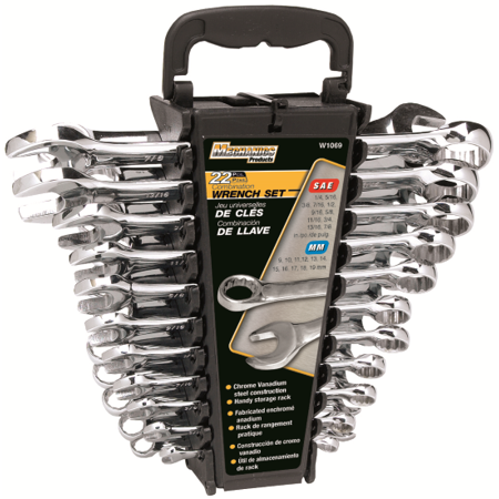 Performance Tool W1069 Combination Wrench Set With Racks, 22 Pieces, Steel, Polished Chrome