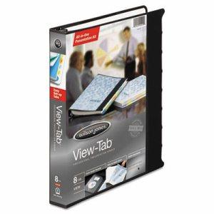 "View-Tab Presentation Round Ring View Binder w/Tabs, 1"" Cap, Black"