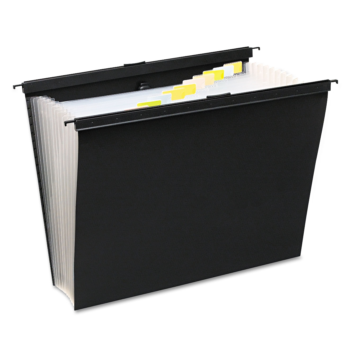 Slide-Bar Expanding Pocket File, 13 Pockets, Poly, Letter, Black