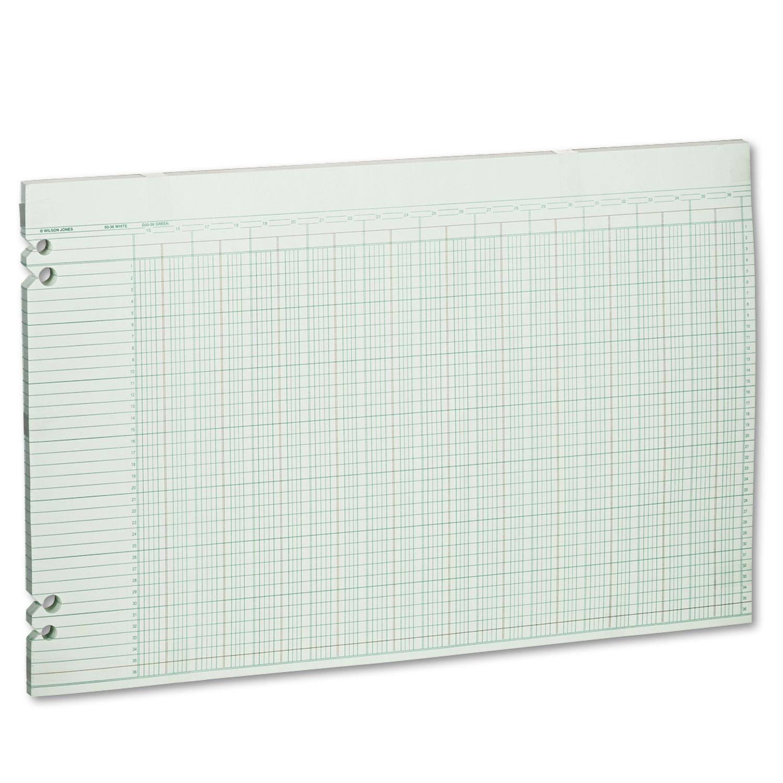 Accounting Sheets, 36 Columns, 11 x 17, 100 Loose Sheets/Pack, Green