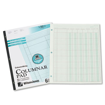 Accounting Pad, Six-Unit Columns, 8-1/2 x 11, 50-Sheet Pad