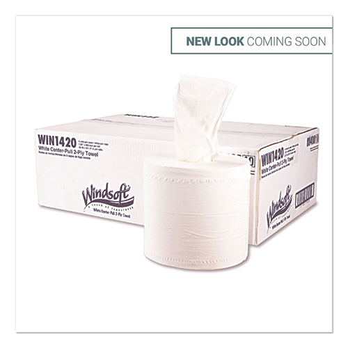 Center-Flow Perforated Paper Towel Roll, 8 x 13.5, White, 6 Rolls/Carton