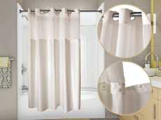 WINGINTS PREHOOK� DUET� SHOWER CURTAIN WITH SNAP OUT LINER AND VOILE WINDOW, 300 DENIER POLYESTER, 71 IN. X 74 IN., CHAMPAGNE
