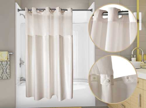 WINGINTS PREHOOK� DUET� SHOWER CURTAIN WITH SNAP OUT LINER AND VOILE WINDOW, 300 DENIER POLYESTER, 71 IN. X 74 IN., WHITE